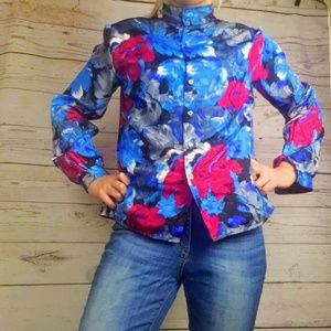 Tops - Vintage Blue Floral Mock Neck Shirt Blouse Size 14